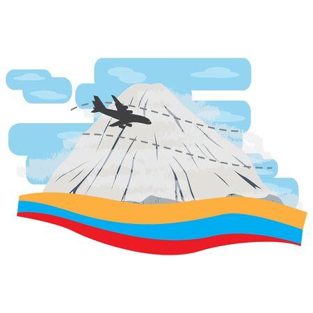Travel to Colombia. Ruiz peak mountain landscape - Vector illustration