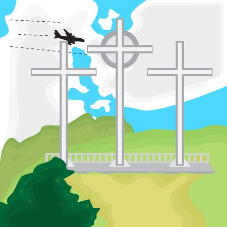 Travel to Colombia. Three cross mountain landscape - Vector
