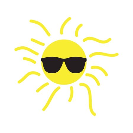 Isolated happy sun with sunglasses over a white background - Vector illustration Иллюстрация