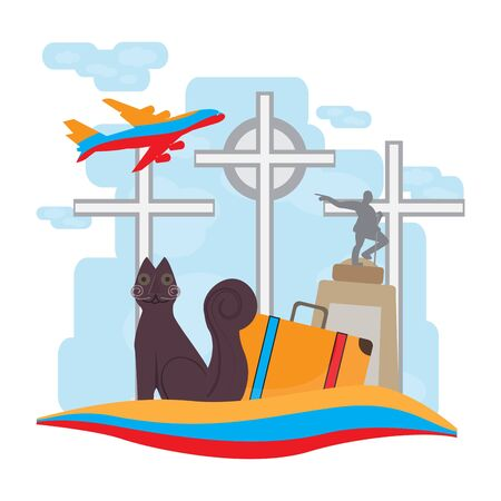 Travel to Colombia, Cali statues with a travel bag - Vector illustration