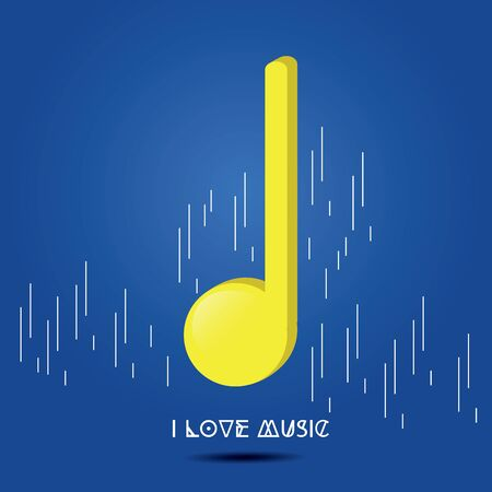 Isolated quarter note on a colored background - Vector
