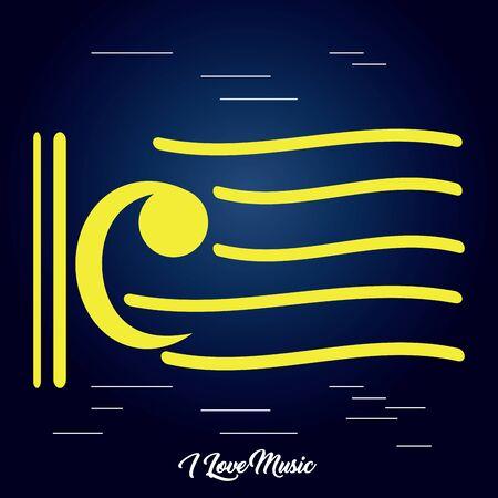 Bass clef icon in a pentagram - Vector illustration Иллюстрация