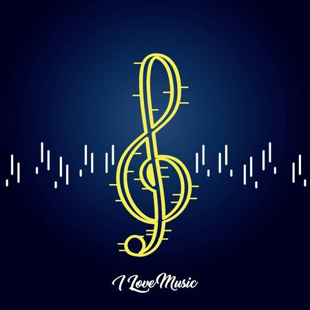 Treble clef image on a colored background - Vector
