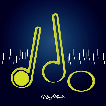 Set of musical notes over a colored background - Vector Иллюстрация