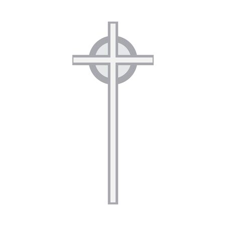 Isolated religion cross monument over a white background - Vector illustration Illustration
