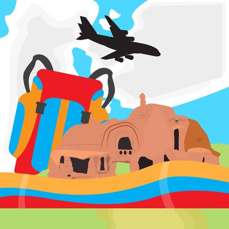 Travel to Colombia. Natural landscape with an airplane - Vector illustration