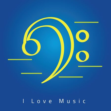 Bass clef icon over a colored background - Vector