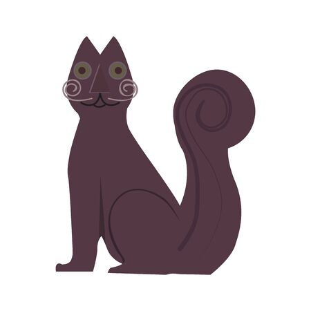 Isolated tejada cat statue over a white background - Vector illustration Иллюстрация