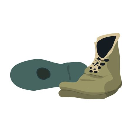 Isolated pair of travel boots over a white background - Vector illustration