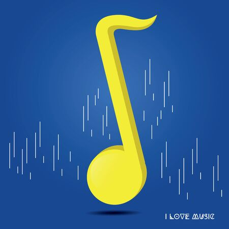 Quarter musical note over a colored background - Vector Иллюстрация