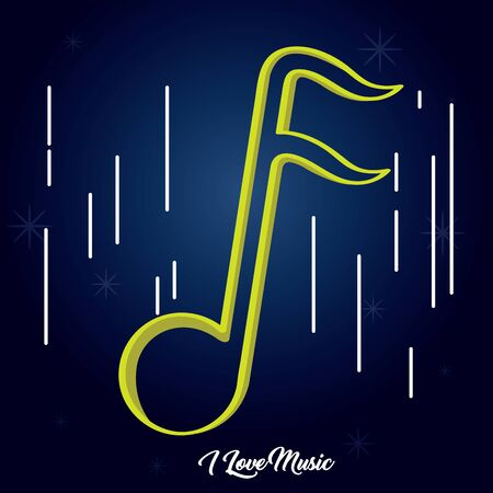 Sixteenth musical note over a colored background - Vector