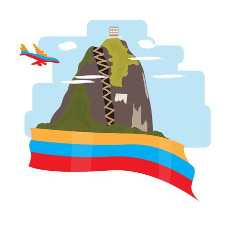 Travel to Colombia. Landscape of Guatape - Vector illustration Illusztráció