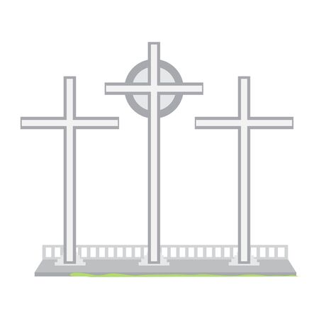 Three cross monument over a white background - Vector illustration Illustration