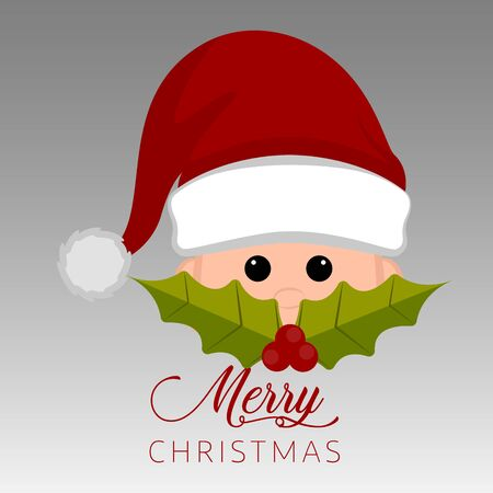 Merry christmas poster with a santa claus cartoon - Vector