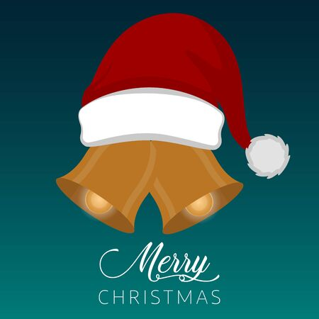 Merry christmas poster with a santa hat and christmas bells - Vector