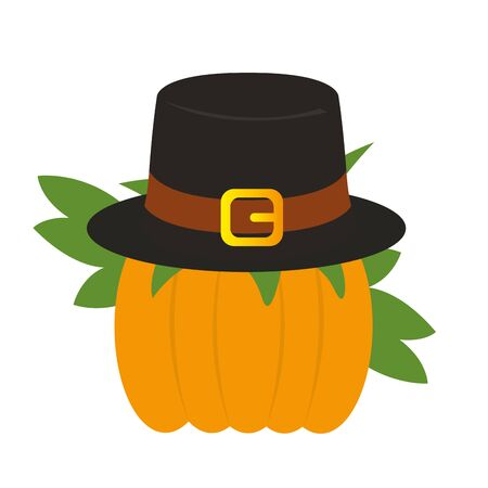 Pumpkin icon with a pilgrim hat - Vector