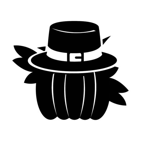 Silhouette of a pumpkin with a pilgrim hat - Vector Illustration