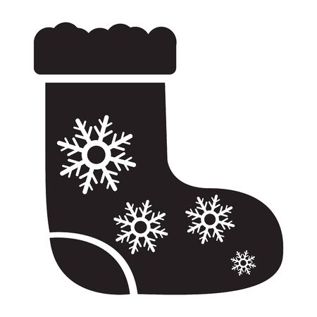 Isolated decorated santa boot icon - Vector illustration