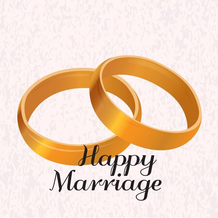 Golden wedding rings. Happy marriage illustration - Vector