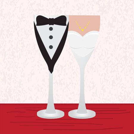 Decorated champagne glasses. Wedding couples dresses - Vector