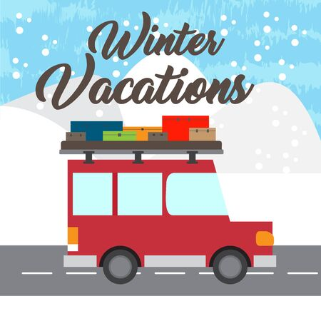 Winter vacation poster with a car and travel bags - Vector Banque d'images - 137830889