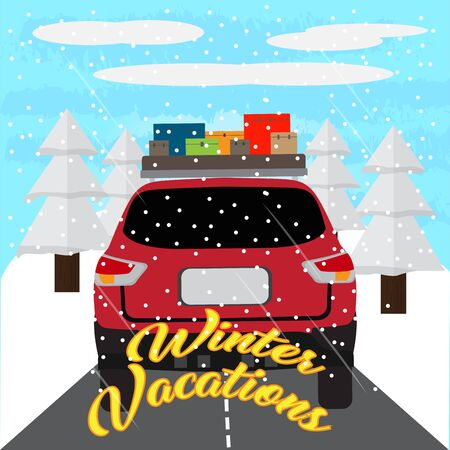 Winter vacation poster with a car and travel bags - Vector Banque d'images - 137830905