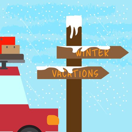 Winter vacation poster with a car and travel bags - Vector Banque d'images - 137830928