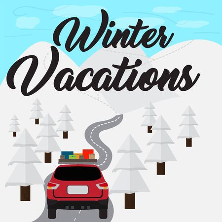 Winter vacation poster witn a car in a road - Vector Banque d'images - 137830944