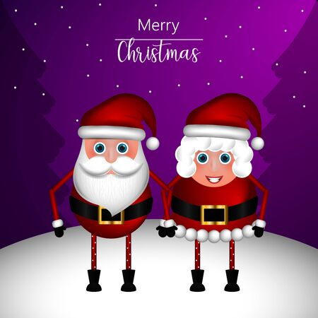 Merry christmas greeting card with christmas characters - Vector