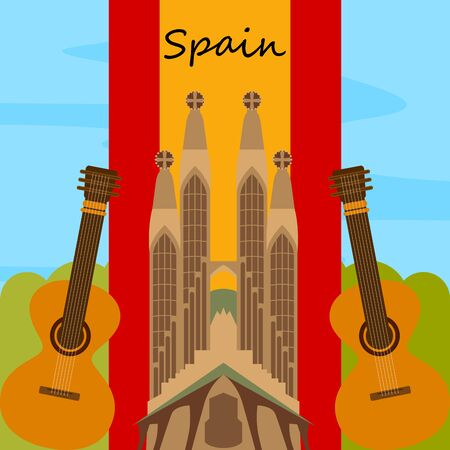 Travel to Spain poster with the Sagrada Familia church - Vector