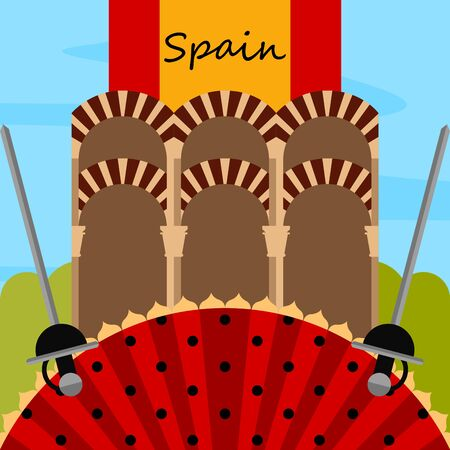 Travel to Spain poster with a traditional building and a hand fan - Vector