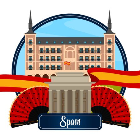 Travel to Spain poster with traditional buildings and objects - Vector illustration