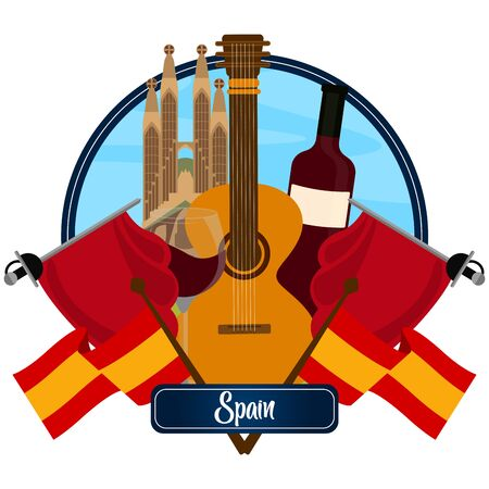 Travel to Spain poster with traditional objects - Vector Ilustracja