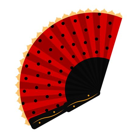 Isolated red hand fan. Spanish traditional object - Vector Ilustracja