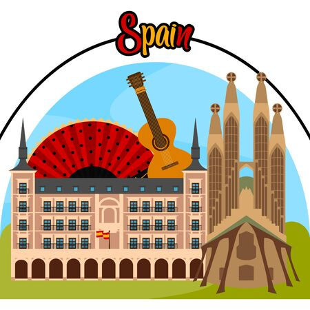 Travel to Spain poster with famous buildings and a guitar - Vector illustration