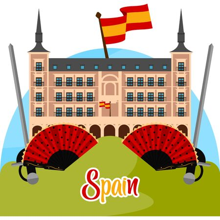 Travel to Spain poster with a traditional building and hand fans - Vector Ilustracja