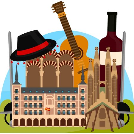 Travel to Spain poster with famous buildings and objects - Vector