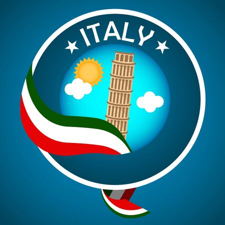 Travel to Italy poster with the leaning tower of Pisa - Vector