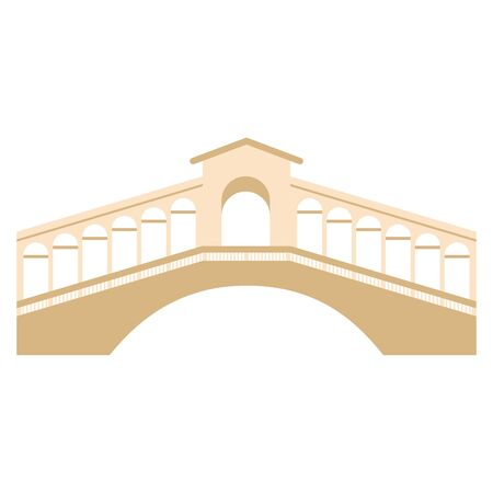 Isolated traditional bridge of Venice over a white background - Vector