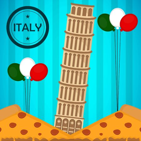 Travel to Italy poster with the leaning tower of Pisa and air balloons - Vector