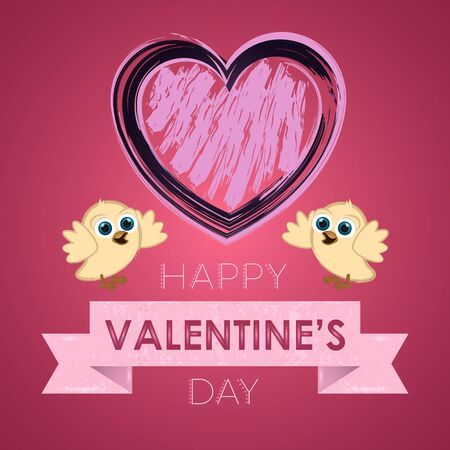 Valentines day greeting card with a cute chickens couple and a grunge heart - Vector