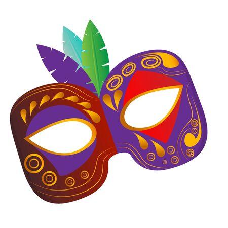 Icono de máscara de teatro de mardi gras aislado - Vector