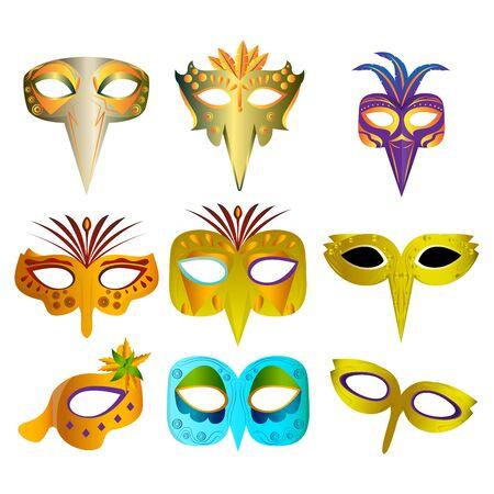 Set of mardi gras theater mask - Vector