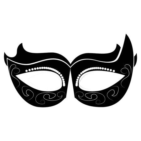 Silueta de máscara de teatro de mardi gras aislado- Vector