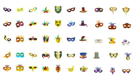 Set of mardi gras icons. Masks, harlequin hats and decorated hats - Vector Ilustracja