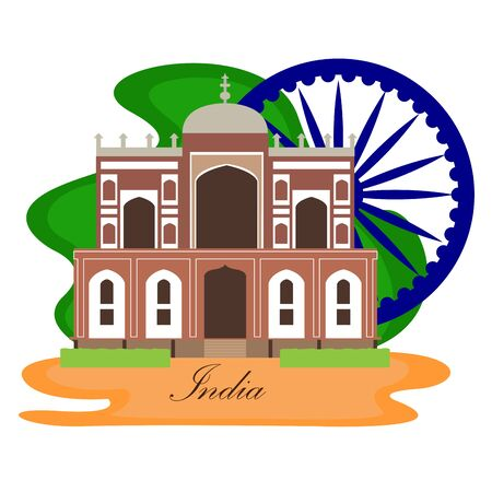 Famous place in india. Humayuns Tomb - Vector