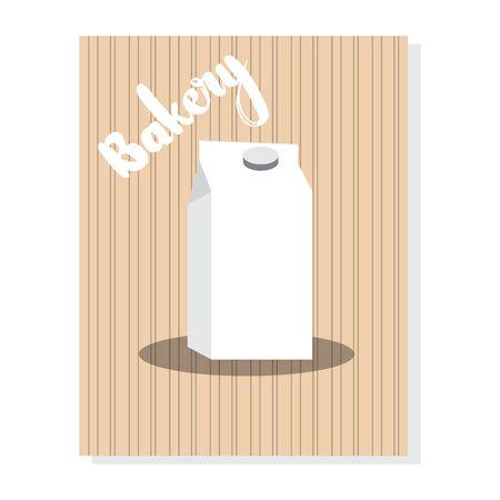 Cartel de panadería vintage con una caja de leche - Vector Ilustración de vector