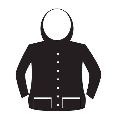 Imagen de chaqueta aislada. Icono de ropa de invierno - Vector Ilustración de vector