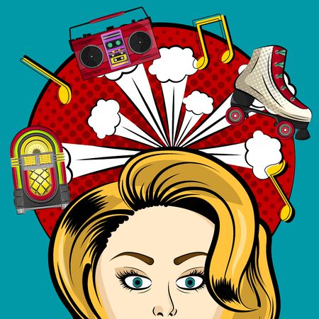 Neon jukebox, vintage radio and retro roller skate with a comic expression. Pop art illustration - Vector