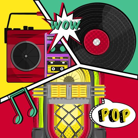 Neon jukebox, vintage radio and vinyl record with a comic expression. Pop art illustration - Vector